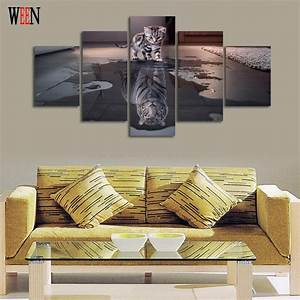 5 Piece Cat and Tiger Canvas Art Wall Pictures HD Printed ...
