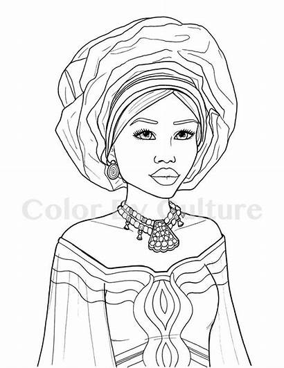 Coloring African Printable Adult Sheets Fashions Books