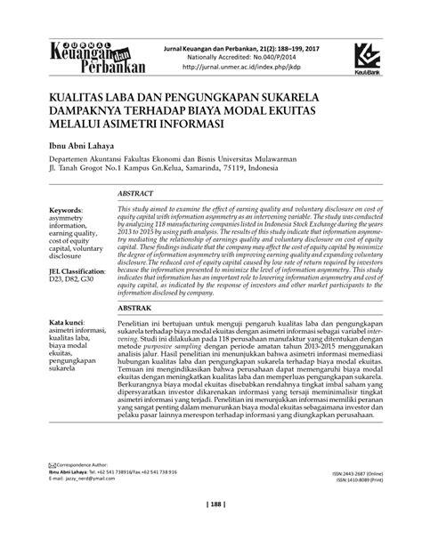ASIMETRI INFORMASI DAN COST OF EQUITY CAPITAL PDF