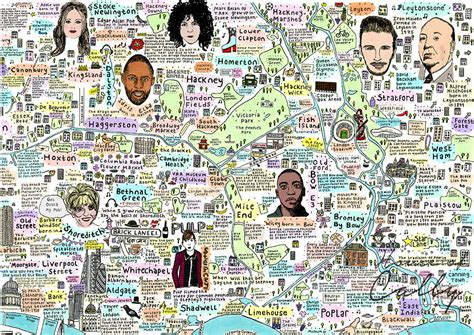 illustrated map  east london history  culture house