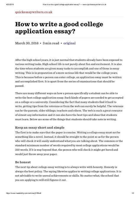 how to write a good college application essay www