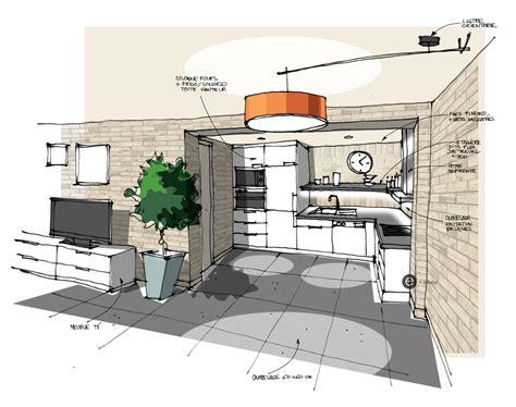 béton ciré sol cuisine cuisine ouverte sur salon b 195 169 ton cir 195 169 mur en briques croquis cuisine ouverte salon