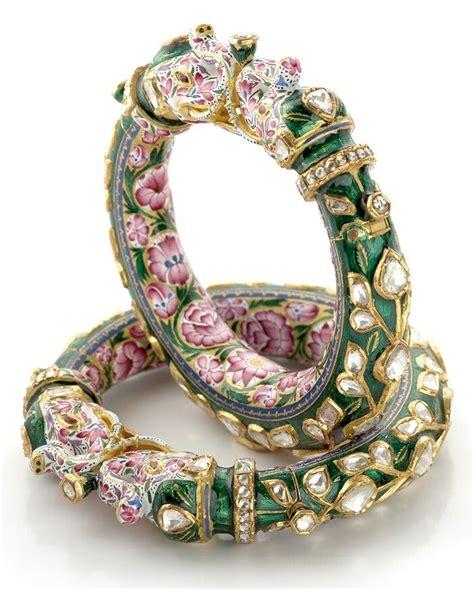 pink  green enamel bangle pair  elephant design