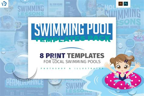 swimming pool templates pack templates creative market