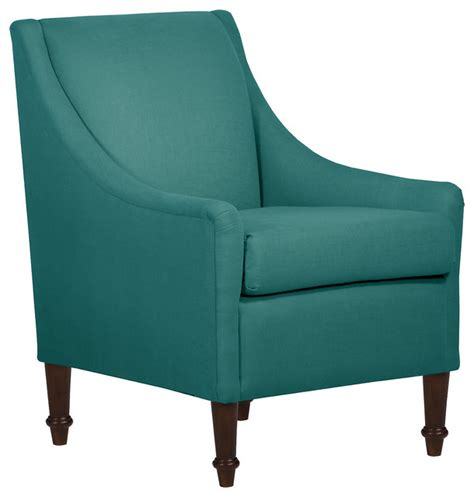 swoop arm chair teal linen contemporary