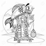 Drawing River Fisherman Hut Cartoon Wooden Illustration Getdrawings Near Coloring Stilts Drawn Drawings Mob Illustrations Dreamstime Vectors Vector sketch template