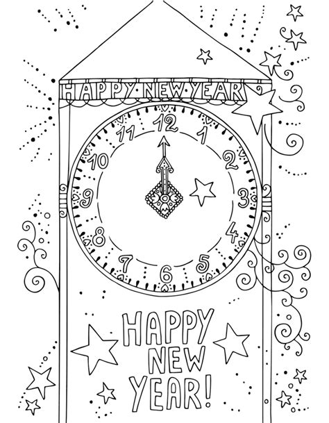 happy new year coloring pages new year coloring pages kidsuki