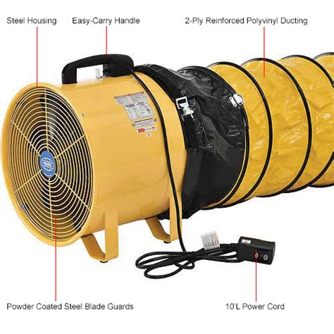 fans blower fans global portable ventilation fan 12 inch with 16 ducting