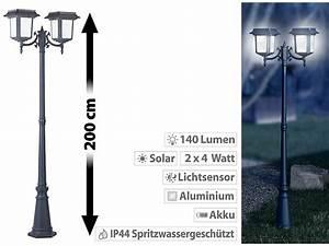 Solar Laterne Groß : lunartec 2 flammige solar led laterne 140 lm 2x 4 w solarpanel refurbished ~ Watch28wear.com Haus und Dekorationen