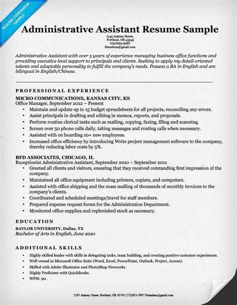 administrative assistant resume sample  resume format