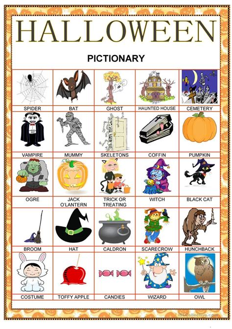 halloween pictionary worksheet  esl printable