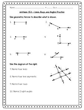 envision math 4th grade 15 1 lines rays and angles