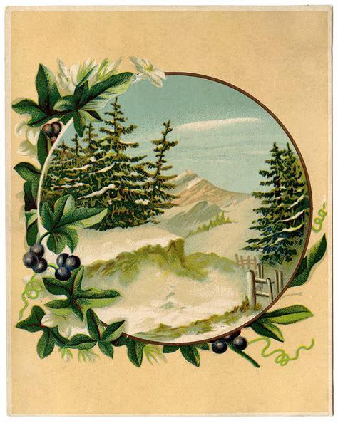 antique graphic winter mountain scene  graphics fairy