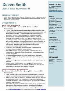 Resume Template For Retail Job Retail Sales Supervisor Resume Samples Qwikresume