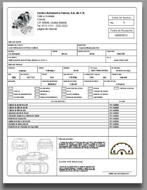 formato de orden de servicio lls orden de servicio taller mecanico automotriz solicitud de