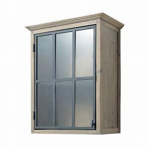 meuble haut vitre de cuisine ouverture droite en bois With meuble salle de bain vitrée