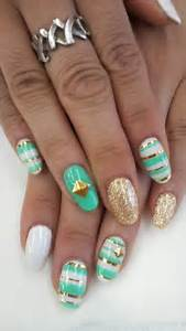 Pretty teal white gold nail art design beauty and fashion