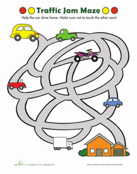 traffic maze worksheet education