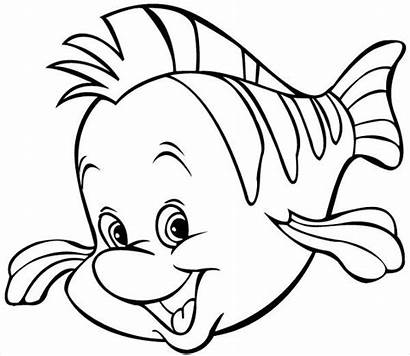 Fish Coloring Cartoon Pages Flounder Disney Clipart