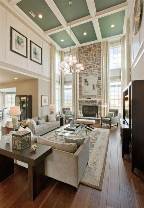 living room  high ceilings  fireplace  windows