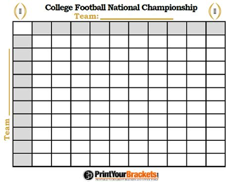 college football national championship football squares pool