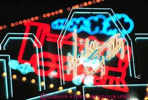 double exposure neon signs night Branson Missouri Stock