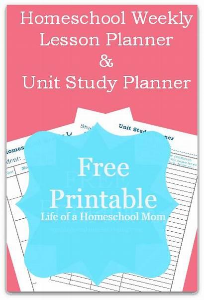 Homeschool Planner Lesson Weekly Study Unit Printables