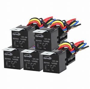 5 Pack  40 Amp Relay Harness Spdt 12v Bosch Style