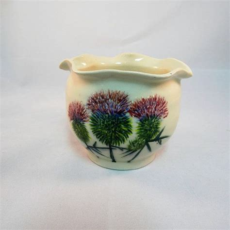 pottery flower vase hand painted scotish thistles candy