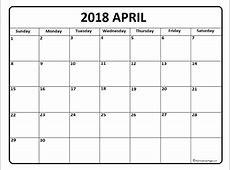 April 2018 calendar * April 2018 calendar printable