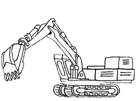Coloring Excavator by Excavator Coloring Page 1