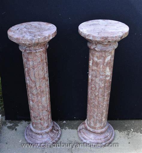 Column Pedestal by Pair Classic Italian Marble Doric Column Stands Pedestal