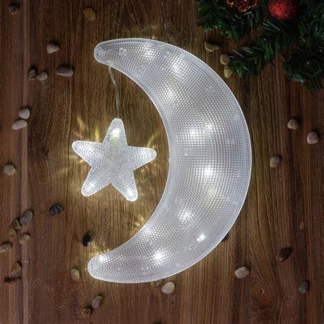 Fensterdeko Weihnachten Mit Batterie by Fensterbild Mond Mit 20 Led Wei 223 Weihnachten