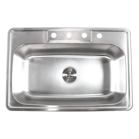 Kitchen Sink 33x22 Bowl by 33 Inch Stainless Steel Top Mount Drop In Single Bowl