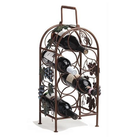 wrought iron wine racks grapevine painted metal vineyard inspired 7 bottle wine