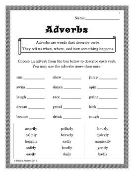 adverb worksheets by patricia watson teachers pay teachers