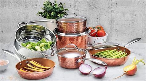 amazon gold box gotham steel pots  pans set  piece hammered copper  reg