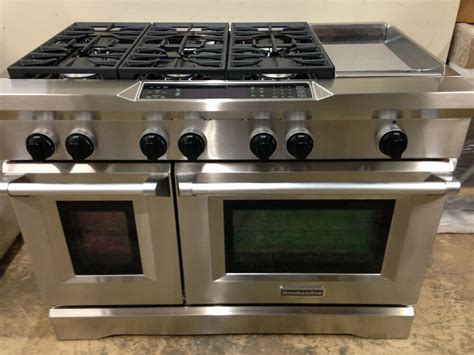 kitchenaid kdrsvss  pro dual fuel range stove  burners griddle ebay