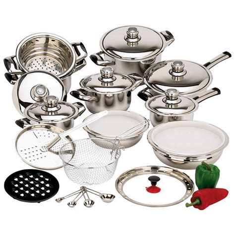 steel stainless cookware waterless heavy gauge element quality 28pc pans piece surgical t304 pots wok cook 316ti sets popscreen chef