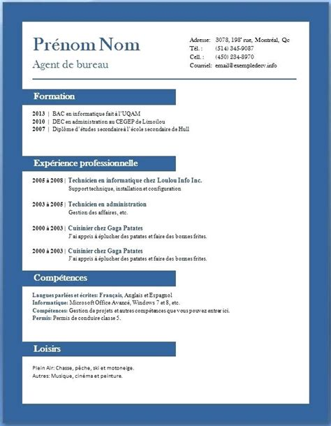 cv francais exemple word modele cv debutant degisco