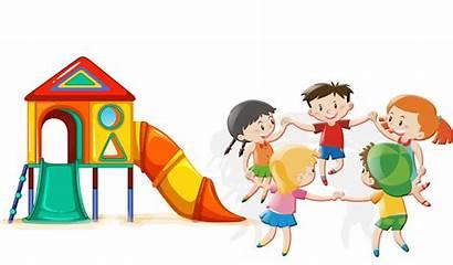 Cartoon Play Park Clipart Playing Children Child