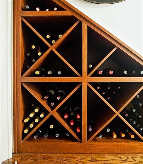 wine rack corner use of dead space the stairs