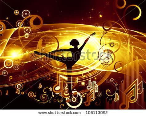 Graphic Composition Girl Silhouette Notes Lights Stock