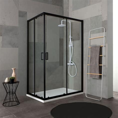cabine doccia 70x100 box doccia con profili neri 70x100 cristallo trasparente