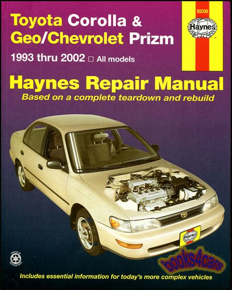 free online auto service manuals 1997 geo prizm windshield wipe control shop manual service repair book haynes toyota corolla geo prizm chevy ebay