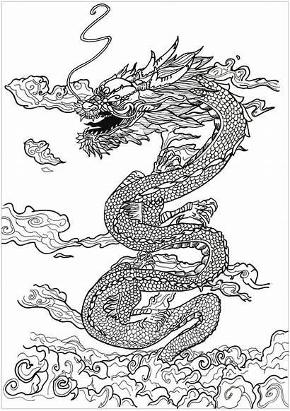 Dragon Legends Asian Coloring Myths Adult Inspiration