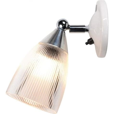 single wall light with adjustable prismatic glass shade