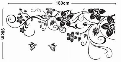 Butterfly Border Vine Clipart Flowers Wall Vinyl
