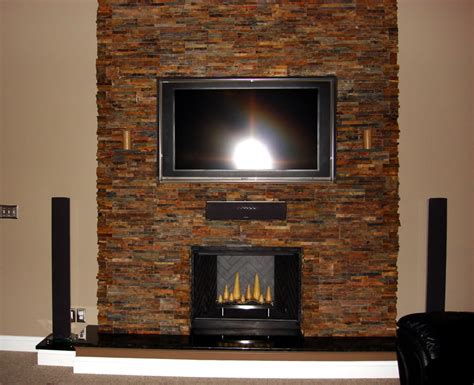 How To Install A Stacked Stone Fireplace Design Idea And