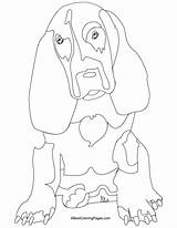 Hound Coloring Basset Dog Bestcoloringpages Outline sketch template